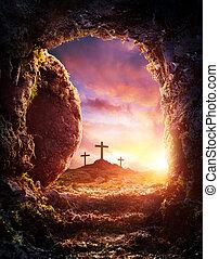 Leeres Grab - Kreuzigung und Auferstehung von Jesus Christus.