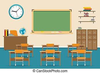 Leeres Klassenzimmer mit Tafel