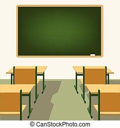 Leeres Klassenzimmer mit Tafel und Schreibtisch.