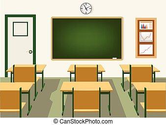 Leeres Klassenzimmer mit Tafel.