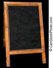 Leeres Menü-Stand-Schild, isoliert über Schwarz.
