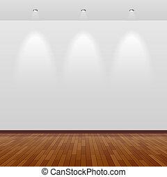 Leeres Zimmer mit weißer Wand und Holz