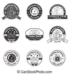 Legen Sie Vintage Sanitäranlagen, Heizdienst Logo, Etiketten und Abzeichen. Stilvolles monochromes Design. Für Ihre Firma. Corporate Identity Konzept, Business Sign Template.