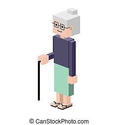Lego Silhouette ältere Frau mit Gehstock.