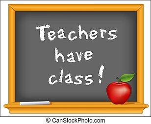 Lehrer haben Klasse! Holzrahmen-Blackboard, Apfel
