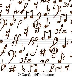 Leicht abstrakter Hintergrund mit Musiksymbolen.