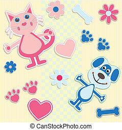 Leichter Hintergrund mit Katzen, Hunden und Herz
