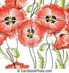 Leichter Hintergrund mit roten Mohnblumen