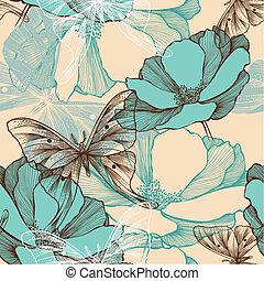 Leichtes Muster mit abstrakten Blumen und dekorativen Schmetterlingen, handgefertigt.