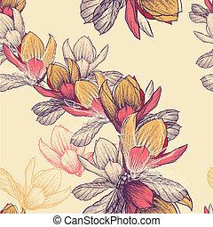 Leichtes Muster mit blühenden Magnolienblumen, handgefertigt. Vektor Illustration.