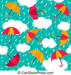 Leichtes Muster mit bunten Regenschirmen