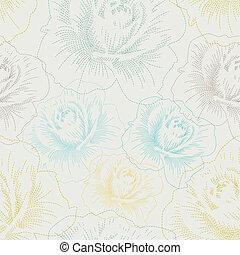 Leichtes Muster mit farbenhandfarbenen Rosen