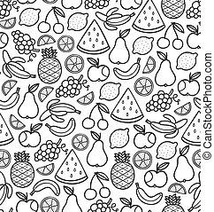 Leichtes Muster mit saftigen Früchten in Schwarz