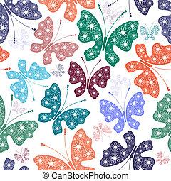 Leichtes weißes Blumenmuster mit Schmetterlingen