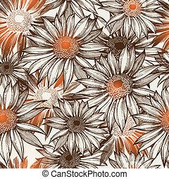 Leichtgläubiges Blumenmuster, handgefertigt. Vektor Illustration. Eps10