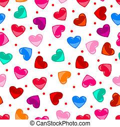 Leichtsinniges, farbenfrohes Herzmuster über Schwarz