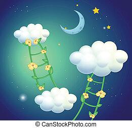 leitern, grün, blumen, gehen, wolkenhimmel