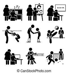 lektionen, kinder, lernen, piktogramm