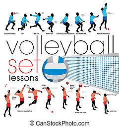lektionen, satz, volleyball