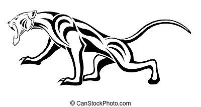 Leopard, Stammes Tattoo