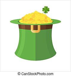 Leprechaun Hut und Gold. Grüner Hut-Topper und viele Goldmünzen. Feen-Schatz-Leprechauns kleiner Zwerg. Illustration für St. Patrick in Irland