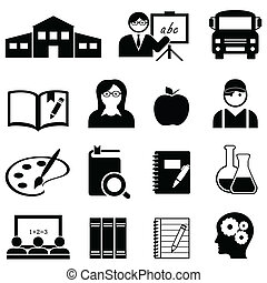 Lern-, Schul- und Bildungs-Icons.