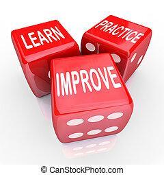 Lerne die Praxis, die Wörter 3 rote Würfel zu verbessern