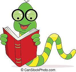 lesende , glücklich, buch, wurm