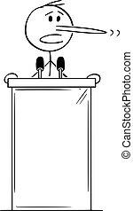 lesepult, abbildung, vektor, lange nase, politiker, sprechen, podium, liegen, hinten, karikatur