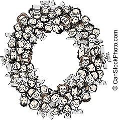 Letter O, Leute, Vektor Alphabet Design.