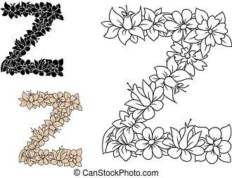 Letter Z, dekoriert von alten Blumenelementen