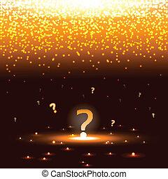 Leuchtende Fragezeichen mit Funken