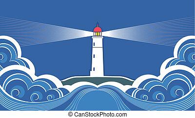 Leuchtturm mit blauem Meer. Vector-Symbolkarte