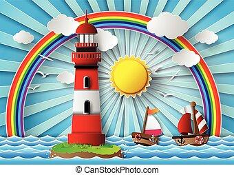 Leuchtturm und Meereslandschaft.