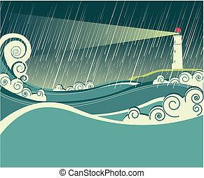 Leuchtturm und Ozean in der Sturmnacht