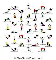 Leute üben Yoga, 25 Posen für dein Design