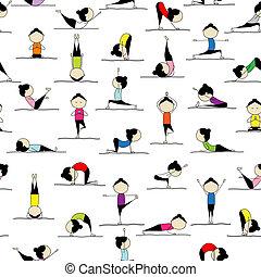 Leute üben Yoga, nahtloser Hintergrund für dein Design