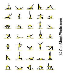 Leute üben Yoga, Posen für dein Design.