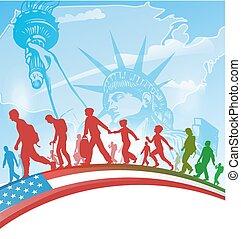 leute, amerikanische , einwanderung