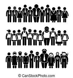 leute, arbeiter, gruppe
