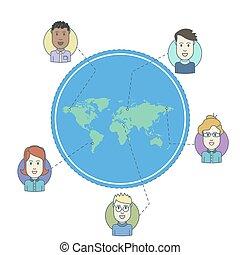 Leute auf der Weltkarte. Männlich und weiblich stehen vor Avataren