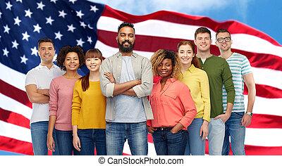 leute, aus, amerikanische , gruppe, internationale markierungsfahne