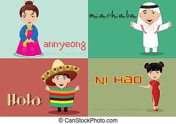 Leute aus verschiedenen Kulturen sagen Hallo.
