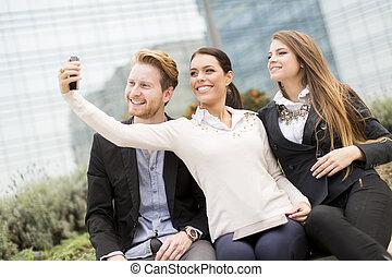 leute, beweglich, foto, nehmen, junger, telefon