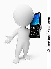 leute, beweglich, -, telefon, klein, 3d