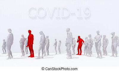 leute, crowd, virus, 3d, mann, covid-19