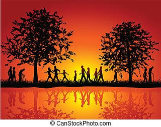 Leute, die auf dem Land spazieren gehen