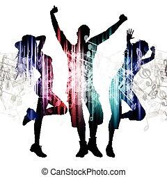 Leute, die auf Noten tanzen.