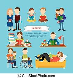 Leute, die Bücher oder Zeitschriften lesen