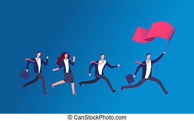 Leute, die Flagge halten und rennen. Geschäftsführendes Büroteam. Leadership Vektorkonzept